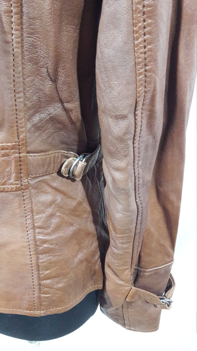 Women/'s leather jacket with buttons Nice women/'s leather jacket Brown jacket made of genuine leather
