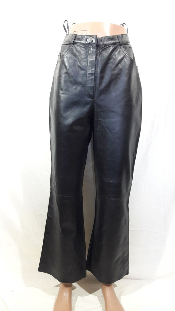 Biker women's pants. Black leather pants for rock… - image 1