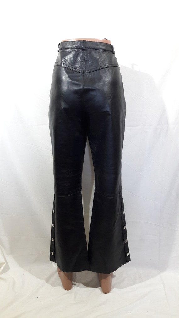 Biker women's pants. Black leather pants for rock… - image 4