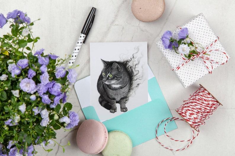 smoke Postcard cat striped gray A6 green eyes charcoal