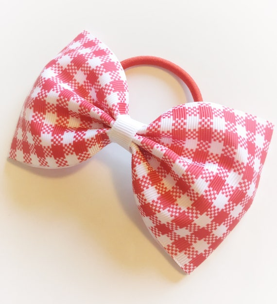 Girls  School Hair Bow Bobbles Gingham Korkers Sold In Pairs Handmade Red