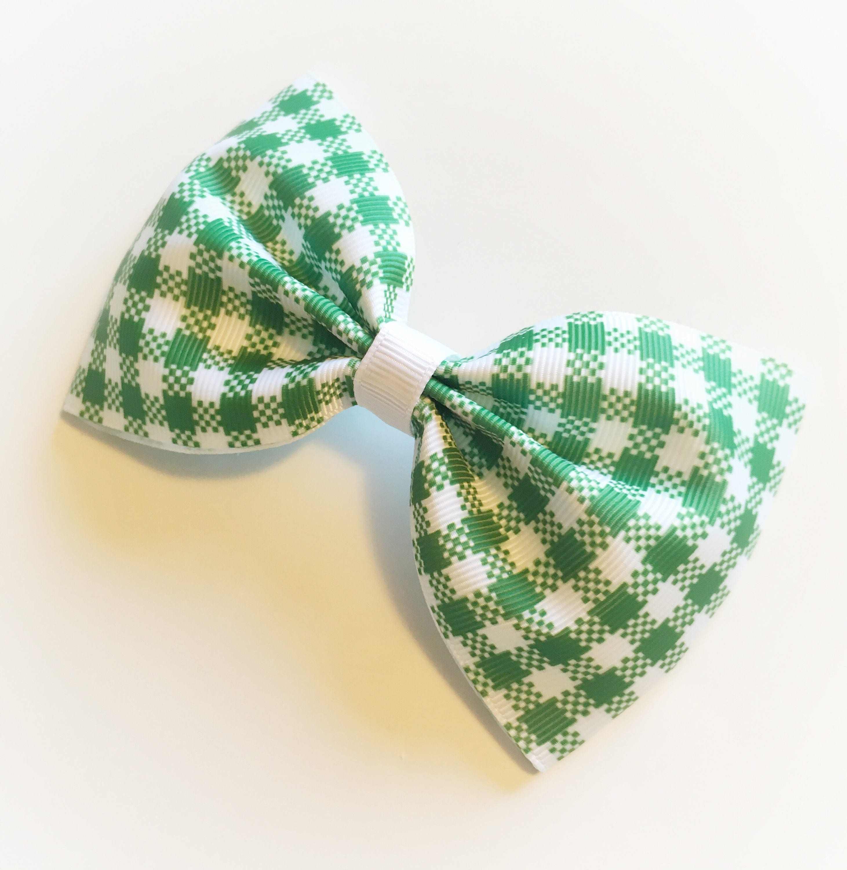 Large Green Gingham Hair Tux Bow on bobble or clip hair  078cef63311