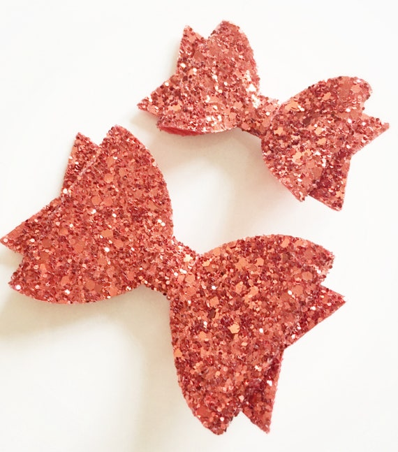 "Handmade red glitter /& velvet bows girls 2.5/"" hair clip alligator"