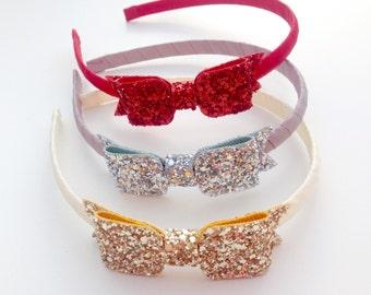 Glitter bow headband - christmas headband, christmas bows, toddler headbands, glitter headband