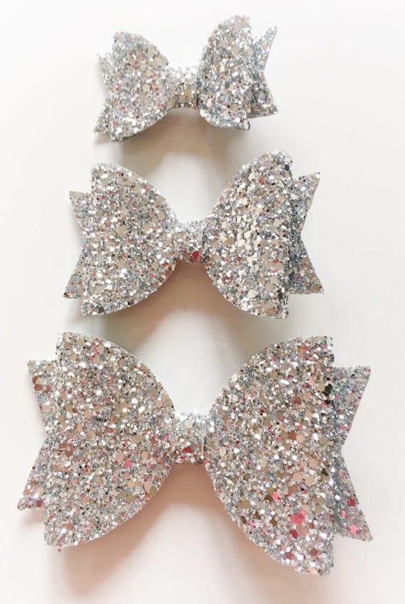 Festive hair bows Silver glitter hair accessories Girls bobbles and hair clips