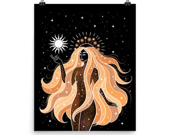 Sun Goddess Giclée Print Poster Art Drawing Wicca Illustration Witchcraft Boho Wall Home Witch Celestial Stars Moon Magical Sun