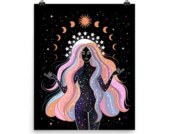 Star Goddess Giclée Print Poster Art Drawing Wicca Illustration Witchcraft Boho Wall Home Witch Celestial Stars Magical Sun