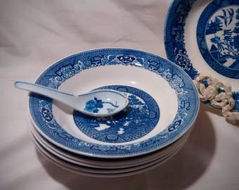 Vintage Blue Willow Bowls for Soup, Salads, or Pasta – Set of 6 Bowls 8.5 Inches in Diameter