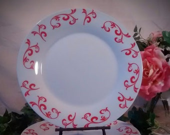 Vintage China Dinner Plates – Set of 4 - White with Red Design
