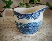 English Village Cream Pitcher Vintage Blue and White Salem China Co. Olde Staffordshire