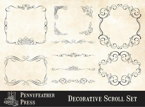 Ornamenti Decorativi Rotoli E Fiorisce Angoli Divisori Cornici Etsy