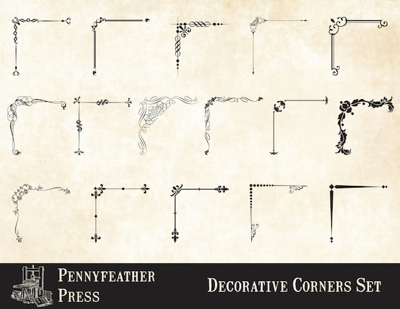 Decorative Corners Frame Corners Vector Graphics Png Digital Etsy