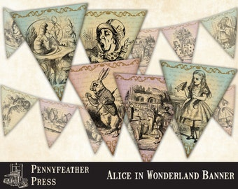 Alice In Wonderland Printable Banner Bunting Party Decoration Supplies Instant Digital Download