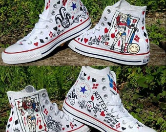 43b68192e800 Harley Quinn Inspired Hand Painted Sneakers