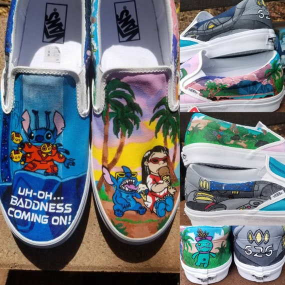 9f1a4d9e35760 Lilo and Stitch Hand Painted Sneakers