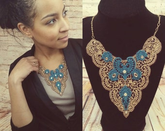 Victorian Lace Design, Embroidered Bib Necklace