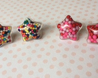 Sprinkle Resin Star Stud Earrings