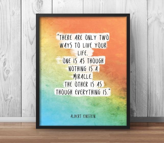 Einstein cito cartel Dos maneras de vivir tu vida   Etsy