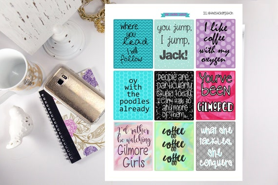 Gilmore girl quote planner stickers stickers for planners journals scrapbooks and more