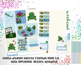 Nature friends, frogs, hand drawn, mini kit planner stickers, glitter - stickers for planners, journals, scrapbooks