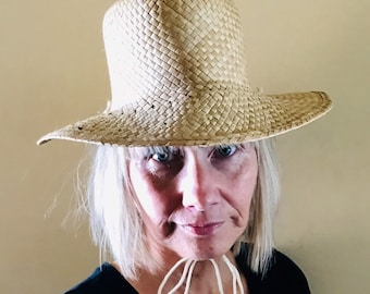 31804dd36ff Vintage natural colour straw cowboy style hat. Straw cowboy hat with chin  ties. NEVER LOSE your HAT with these chin ties !
