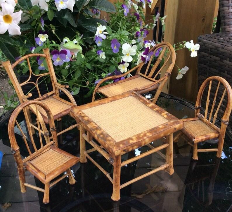 Mitte Jahrhundert Bambus Puppenhaus Gartenmöbel Set 5 Stück Etsy