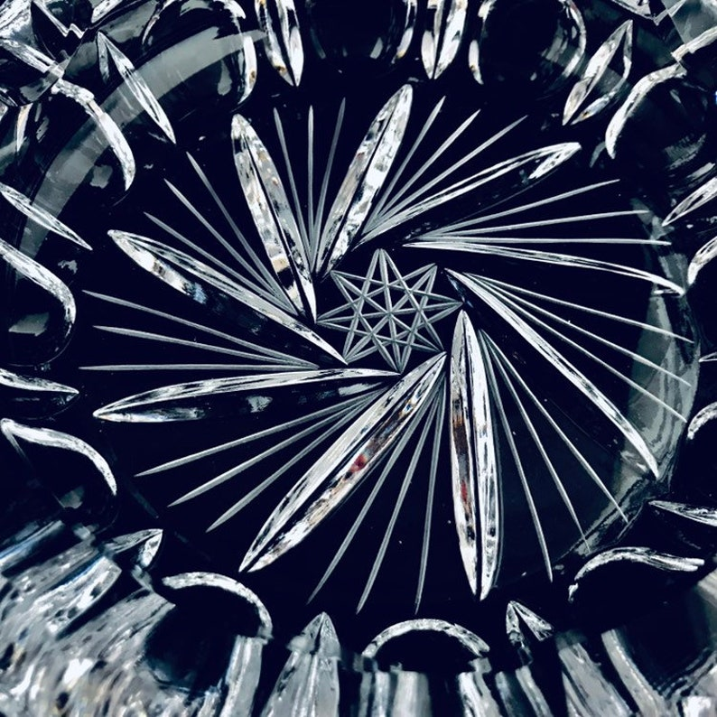Stunning 7 inch extremely heavy crystal clear ashtray. Rare Antique Hollywood Regency heavy cut lead crystal cigar bowl