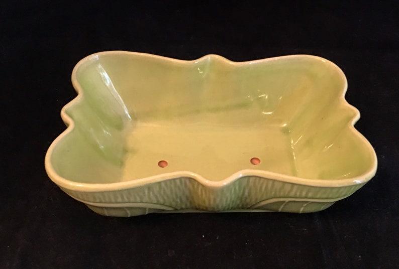 Rectangular light green planter with ruffled edge Unmarked . Mid century ceramic  planter