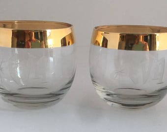 Vintage 70's Gold Rimmed glasses engraved for EVA. Pair of 24 k gold gilded glasses. Engraved with EVA.