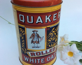Vintage Quaker Rolled White Oats collectable tin.