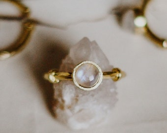 Moonstone Ring, Adjustable Size Ring, Gemstone Boho Jewelry, Dainty Stacking Ring, Simple Ring, Brass Ring, June birthstone ring