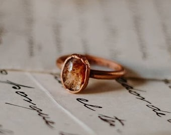 Sunstone ring, raw sunstone stacking ring, sunstone and copper ring, sunstone jewelry , organic stone jewelry, mineral ring