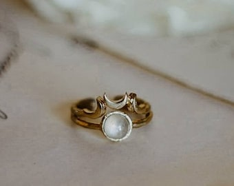Triple moon ring with moonstone, moon phase gold ring, crescent moon, crystal ring, lunar celestial ring, adjustable size, Gift For Her