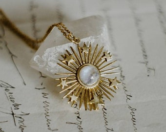 Celestial starburst gemstone necklace, gold starlight layering necklace, dainty star necklace, moonstone amethyst or labradorite necklace
