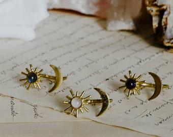 Sun Moon and crystal ring, deco sunburst gemstone moonstone statement ring, gold sun jewelry, birthstone jewelry, adjustable ring, star moon