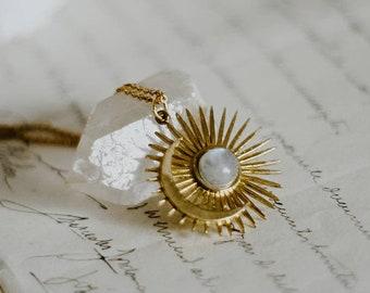 Moon sun and healing crystal gold necklace, moontone amethyst or labradorite sunburst necklace, spikey sun pendant, celestial boho jewelry