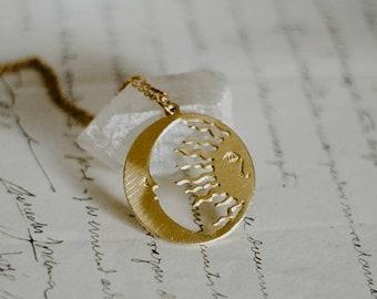 Isla de la Luna Brooch 2-300 Islas de la Luz moon goddess festive blue silver grey jewellery women gift round accessory