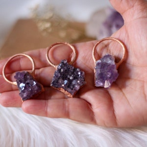 spiritual jewelry amethyst crystal pendant february birthstone healing crystal necklace Amethyst macrame  necklace with brass sun charm