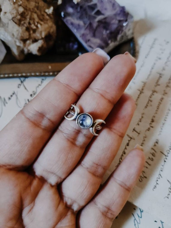 brass moon ring moon phase silver ring adjustable ring crystal moon phase ring triple moon ring bohemian witchy ring,celestial