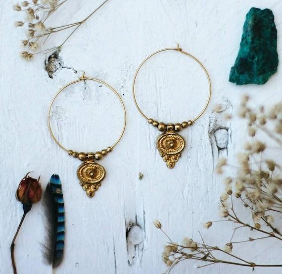 Boho Earrings Brass Jewelry Fashion Earrings Indian Jewelry Tribal Gypsy Earrings Brass Earrings