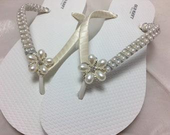 a592f57388300a Bridal Ivory Flip Flops