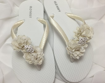 4b93f49a7 Starfish Bridal Flip Flops White Wedding Flip Flops Bridal