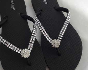 386d0a104433 Items similar to Rhinestone Flip Flops - Bridesmaid Flip Flops ...