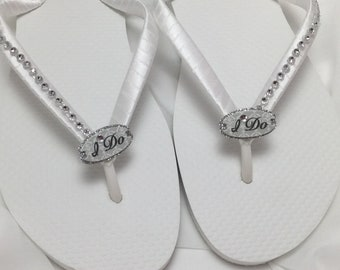 f95dee1a63465b White I Do Bridal Flip Flops