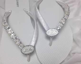 be7d11135563 I Do White Bridal Flip Flops