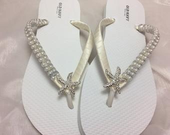 338c41ef0eb215 Bridal Starfish Ivory Flip Flops