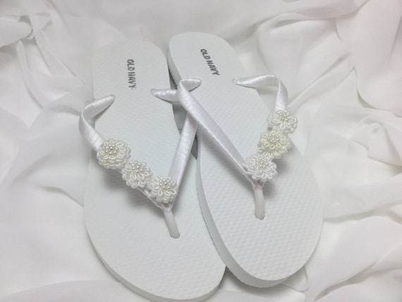 Bridal flip flops white flower flip flops bridal sandals etsy image 0 mightylinksfo