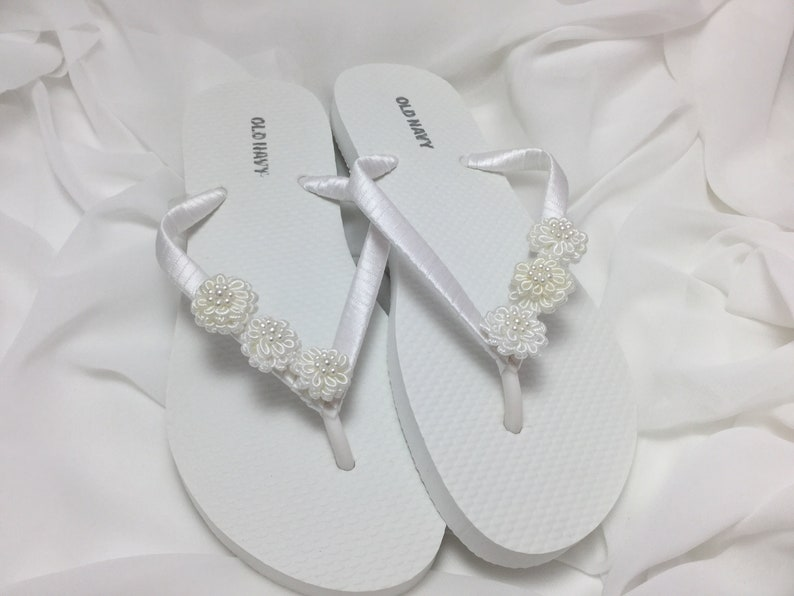 ce153c5446b23 Bridal Flip Flops White Flower Flip Flops Bridal Sandals