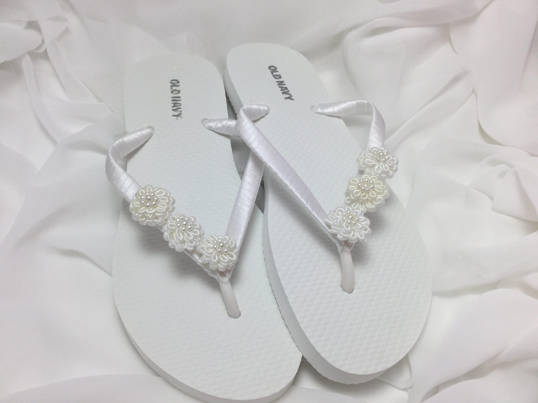 0c879ca7156 Bridal Flip Flops White Flower Flip Flops Bridal Sandals