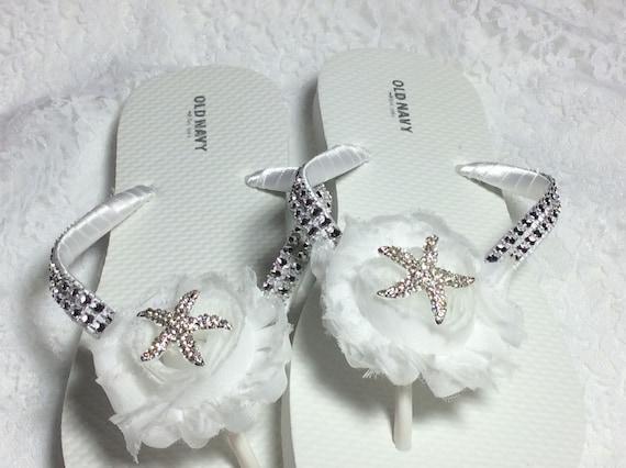 f602b1e5610bd White Bridal Flip Flops Rhinestones Flip Flops Bridesmaid